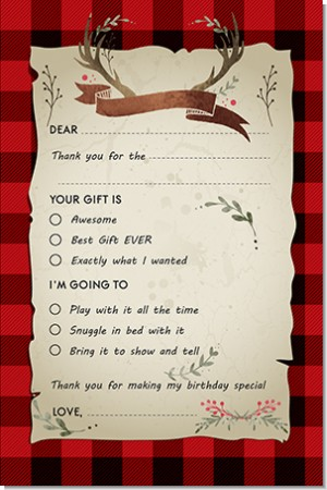 Lumberjack Buffalo Plaid - Birthday Party Fill In Thank You Cards