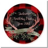 Lumberjack Buffalo Plaid - Round Personalized Birthday Party Sticker Labels