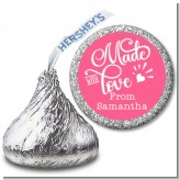 Made With Love - Hershey Kiss Birthday Party Sticker Labels