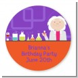 Mad Scientist - Round Personalized Birthday Party Sticker Labels thumbnail