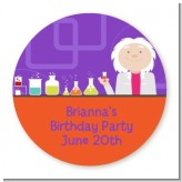 Mad Scientist - Round Personalized Birthday Party Sticker Labels