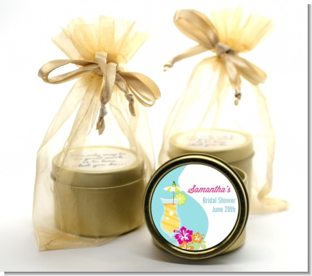 Margarita Drink - Bridal Shower Gold Tin Candle Favors