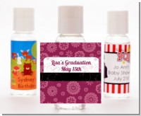 Maroon Floral - Personalized Graduation Party Hand Sanitizers Favors