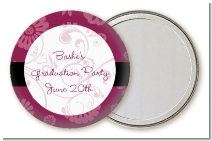 Maroon Floral - Personalized Graduation Party Pocket Mirror Favors