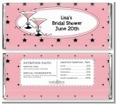Martini Glasses Pink/Black - Personalized Anniversary Candy Bar Wrappers