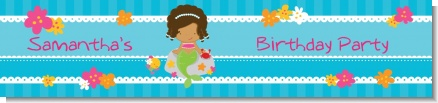 Mermaid African American - Personalized Birthday Party Banners