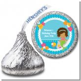 Mermaid African American - Hershey Kiss Birthday Party Sticker Labels
