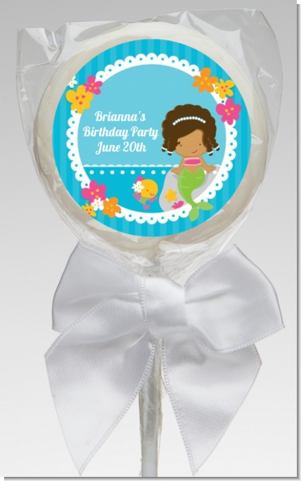 Mermaid African American - Personalized Birthday Party Lollipop Favors