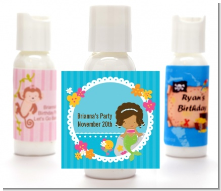 Mermaid African American - Personalized Birthday Party Lotion Favors