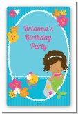 Mermaid African American - Custom Large Rectangle Birthday Party Sticker/Labels