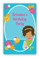 Mermaid African American - Custom Large Rectangle Birthday Party Sticker/Labels thumbnail