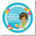Mermaid African American - Round Personalized Birthday Party Sticker Labels thumbnail