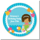 Mermaid African American - Round Personalized Birthday Party Sticker Labels