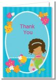Mermaid African American - Birthday Party Thank You Cards