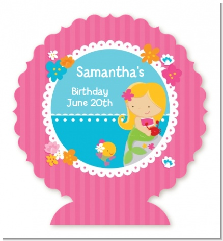 Mermaid Blonde Hair - Personalized Birthday Party Centerpiece Stand