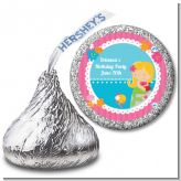 Mermaid Blonde Hair - Hershey Kiss Birthday Party Sticker Labels