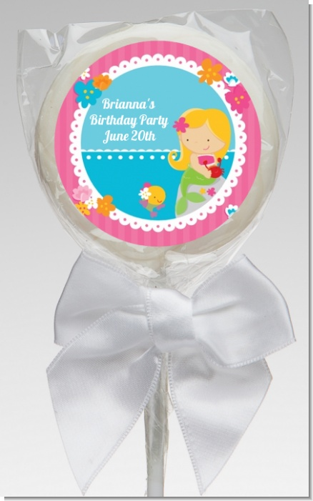Mermaid Blonde Hair - Personalized Birthday Party Lollipop Favors