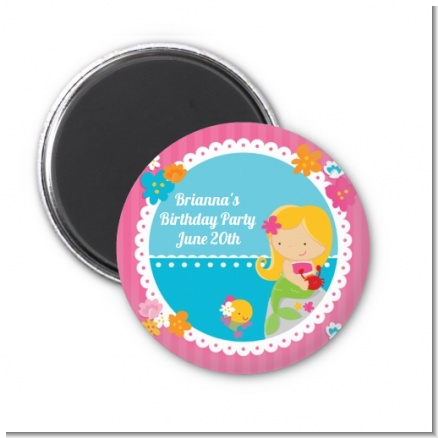Mermaid Blonde Hair - Personalized Birthday Party Magnet Favors