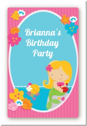 Mermaid Blonde Hair - Custom Large Rectangle Birthday Party Sticker/Labels
