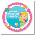 Mermaid Blonde Hair - Round Personalized Birthday Party Sticker Labels thumbnail