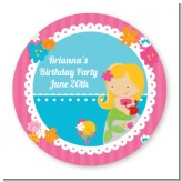 Mermaid Blonde Hair - Round Personalized Birthday Party Sticker Labels