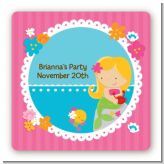 Mermaid Blonde Hair - Square Personalized Birthday Party Sticker Labels