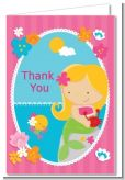 Mermaid Blonde Hair - Birthday Party Thank You Cards