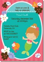 Mermaid Brown Hair - Birthday Party Invitations