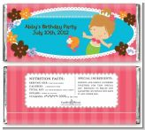 Mermaid Brown Hair - Personalized Birthday Party Candy Bar Wrappers