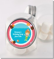 Mermaid Brown Hair - Personalized Birthday Party Candy Jar