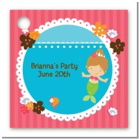 Mermaid Brown Hair - Personalized Birthday Party Card Stock Favor Tags