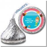 Mermaid Brown Hair - Hershey Kiss Birthday Party Sticker Labels