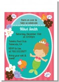 Mermaid Brown Hair - Birthday Party Petite Invitations
