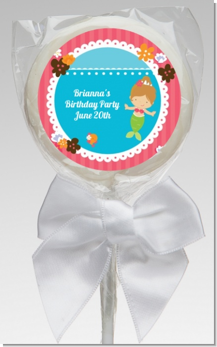 Mermaid Brown Hair - Personalized Birthday Party Lollipop Favors