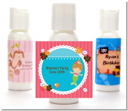 Mermaid Brown Hair - Personalized Birthday Party Lotion Favors