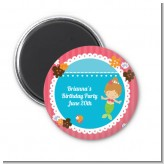 Mermaid Brown Hair - Personalized Birthday Party Magnet Favors