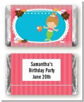 Mermaid Brown Hair - Personalized Birthday Party Mini Candy Bar Wrappers