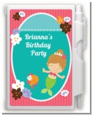 Mermaid Brown Hair - Birthday Party Personalized Notebook Favor