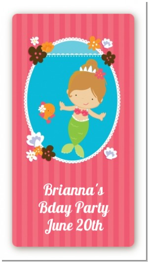 Mermaid Brown Hair - Custom Rectangle Birthday Party Sticker/Labels