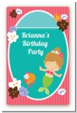 Mermaid Brown Hair - Custom Large Rectangle Birthday Party Sticker/Labels