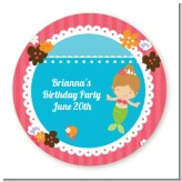 Mermaid Brown Hair - Round Personalized Birthday Party Sticker Labels