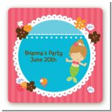 Mermaid Brown Hair - Square Personalized Birthday Party Sticker Labels