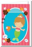 Mermaid Brown Hair - Birthday Party Thank You Cards