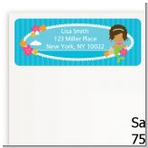 Mermaid African American - Birthday Party Return Address Labels