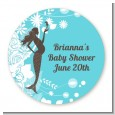 Mermaid Pregnant - Round Personalized Baby Shower Sticker Labels thumbnail