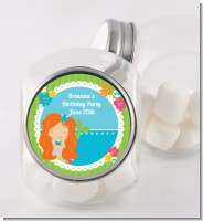 Mermaid Red Hair - Personalized Birthday Party Candy Jar