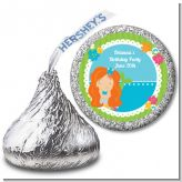 Mermaid Red Hair - Hershey Kiss Birthday Party Sticker Labels