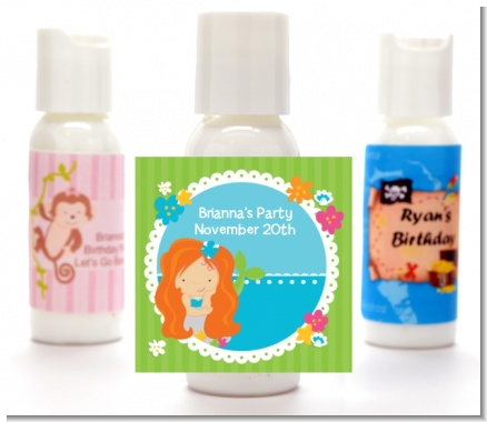 Mermaid Red Hair - Personalized Birthday Party Lotion Favors