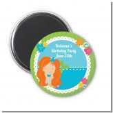 Mermaid Red Hair - Personalized Birthday Party Magnet Favors