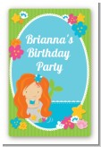 Mermaid Red Hair - Custom Large Rectangle Birthday Party Sticker/Labels